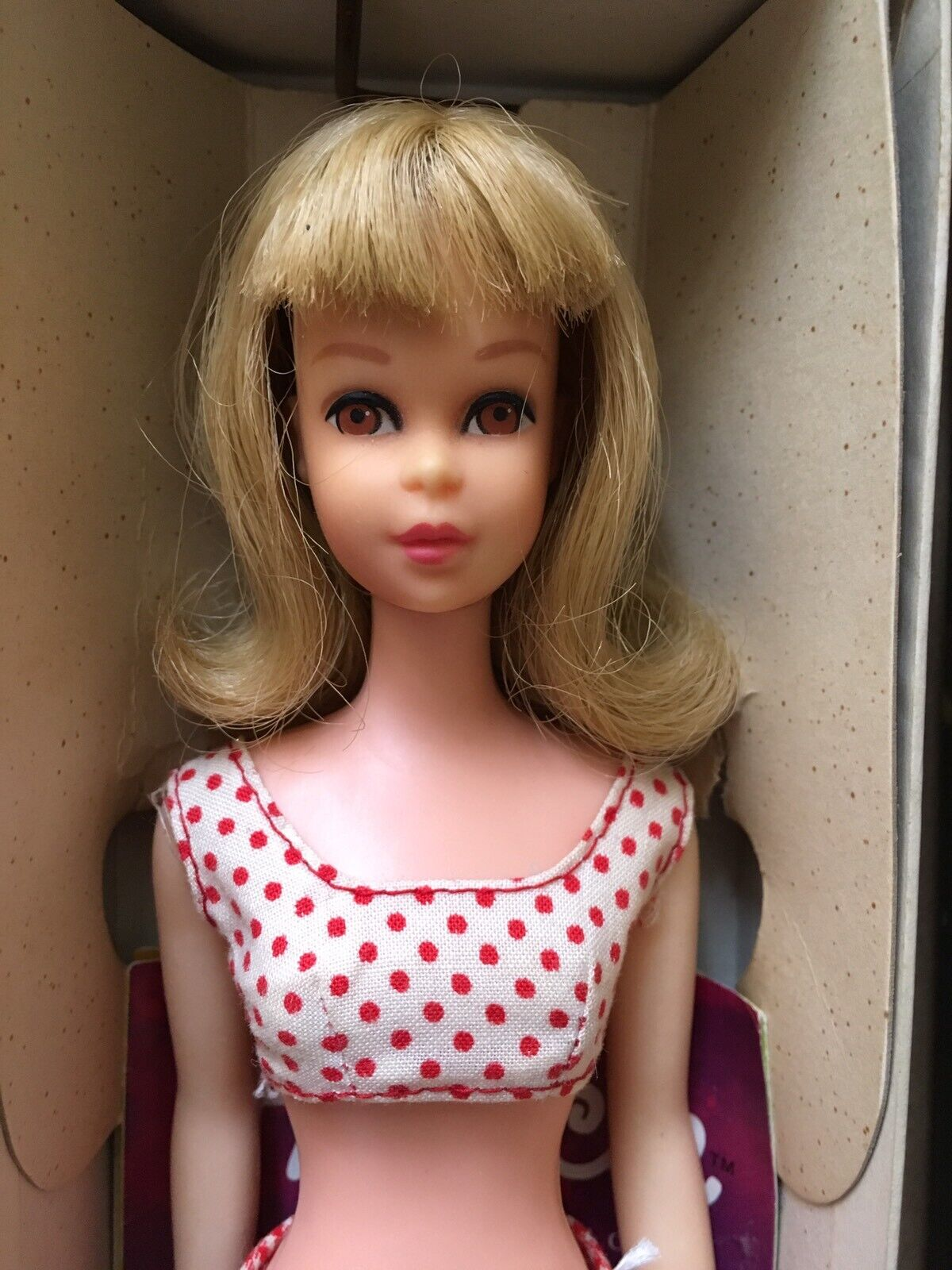 Vintage Barbie's  Francie doll + Outfits + Travel case made in France 1966