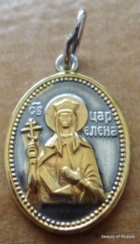 russian made gold /& silver plated Pendant   St Helen Helena //
