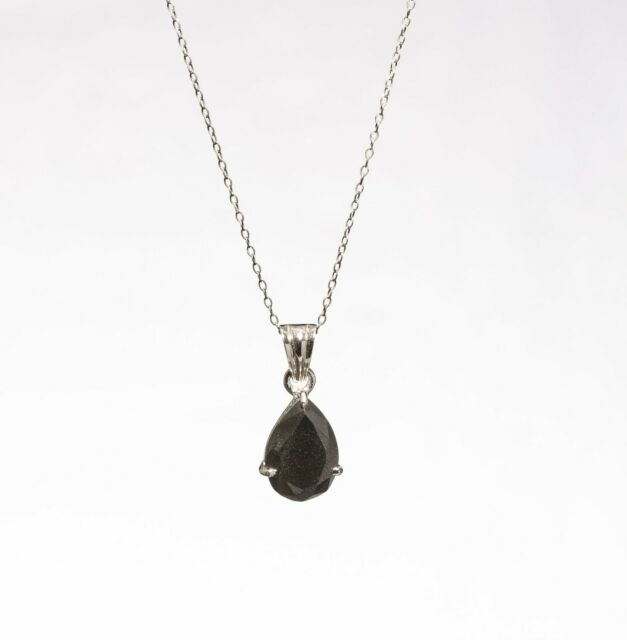 1.05cts Natural I3 Clarity Black Pear Cut Diamond Pendant