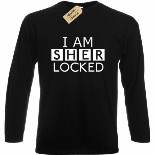 Mens I am Sherlocked T Shirt holmes tv show gift Long sleeve top