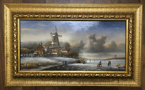 Anthony-Klitz-Windmill-Small-Oil-Painting-on-wood-16-034-x-8-034