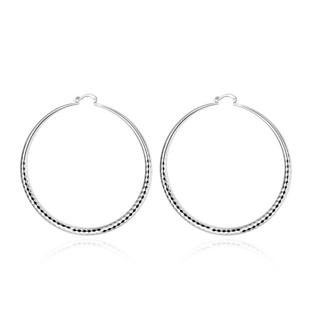 Large 3 Inch Hoop Earrings Silver Tone Simple Thin Hoops