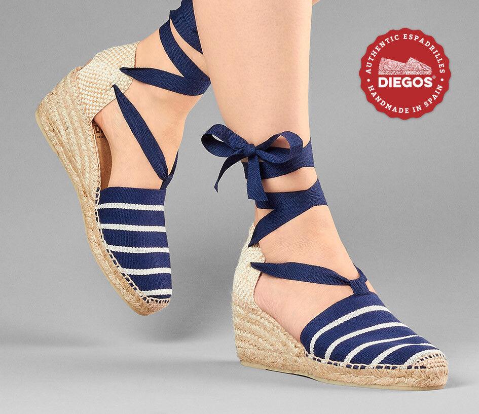 Diegos® Authentic Spanish Handmade Espadrilles | Blau stripes high wedge schuhe