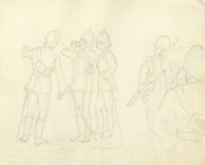 Harry B. Tansley - Late 19th Century Graphite Drawing, Looking for the Enemy