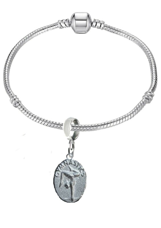 Gymnastics Disc Ft206 1.8x2.3cm On A Silver Rhodium Plated Snake Bracelet