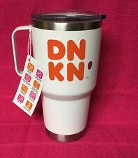 New Dunkin Donuts Coffee Tea 28oz Tumbler White Stainless Handle Travel Mug RARE