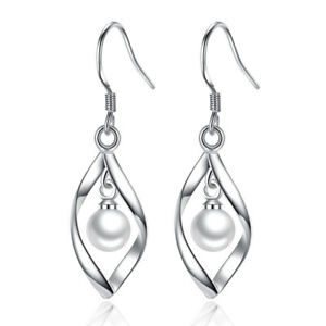 Real-925-Sterling-Silver-Twisted-Line-Pearl-Pendant-Drop-Women-Earrings-Jewelry