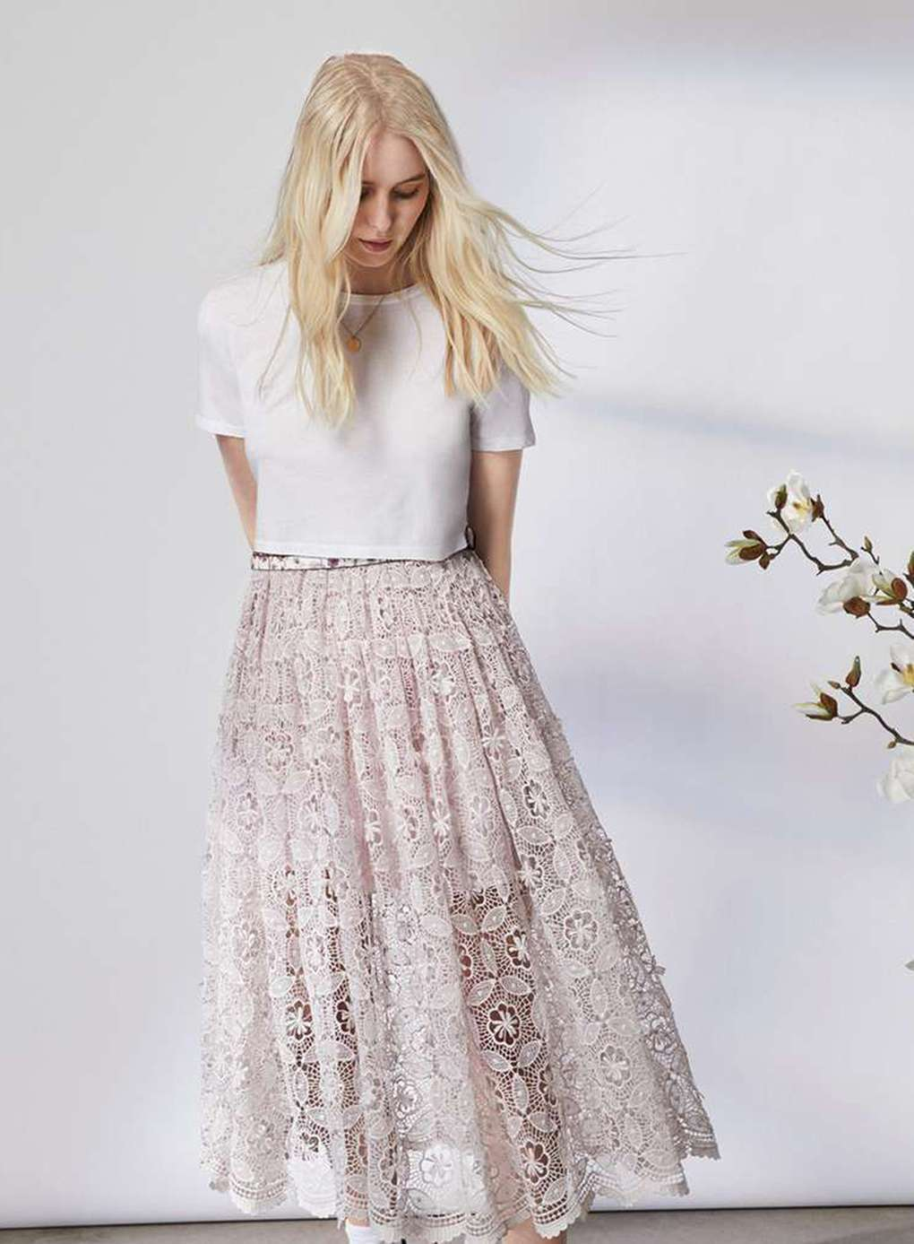Premium Floral Lace Midi Skirt by Miss Selfridge SZ.10  New NWT MSRP  168