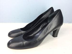 3100363d1041f Prevata Italy 8 Narrow Black Leather Heels Pumps Round Toe EUC ...