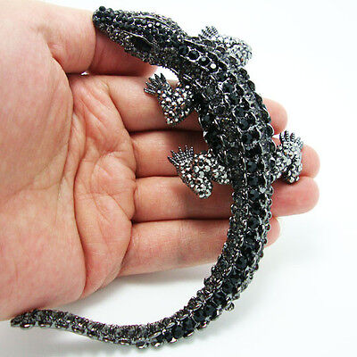 """Huge 4.4"""" Black Alligator Brooch Pin Rhinestone Crystal Crocodile Pendant"""