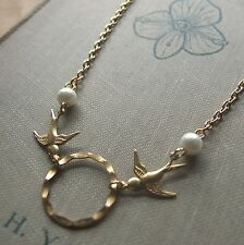 """ALWAYS YOU"" Brass Eternity Circle Necklace with Swallows & Pearl Boho Vintage"