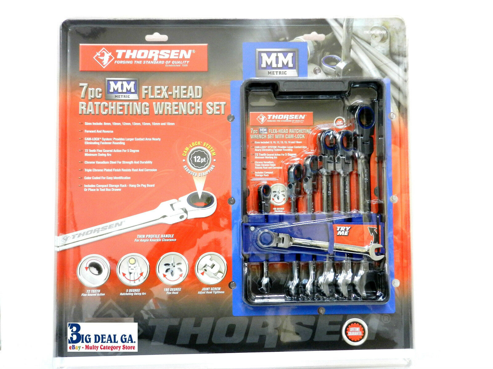 Thorsen 7 pc bluee And Chrome MM Metric Flex-Head Ratcheting Wrench Set New