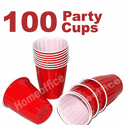 100 x American 16oz Red House Party / Bear Pong Disposable Strong Plastic Cups