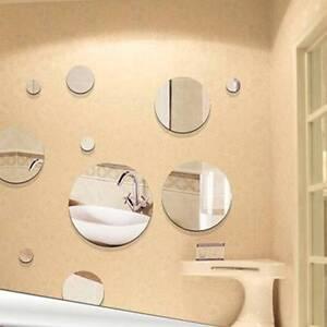 5pcs Acrylic Mirror Crystal Round Circle 3D Wall Stickers ...
