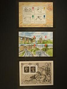 GREAT BRITAIN - 1988,1989,1990 MINIATURE SHEETS SUPERB UM ON ORIGINAL P.O. CARDS