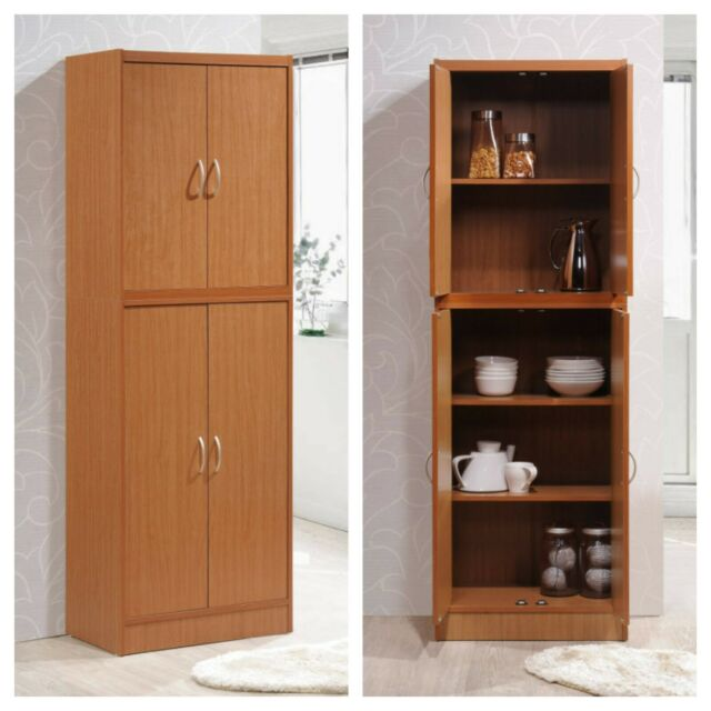 KITCHEN CABINET PANTRY 4-Door Cupboard Storage Organizer Cherry Brown