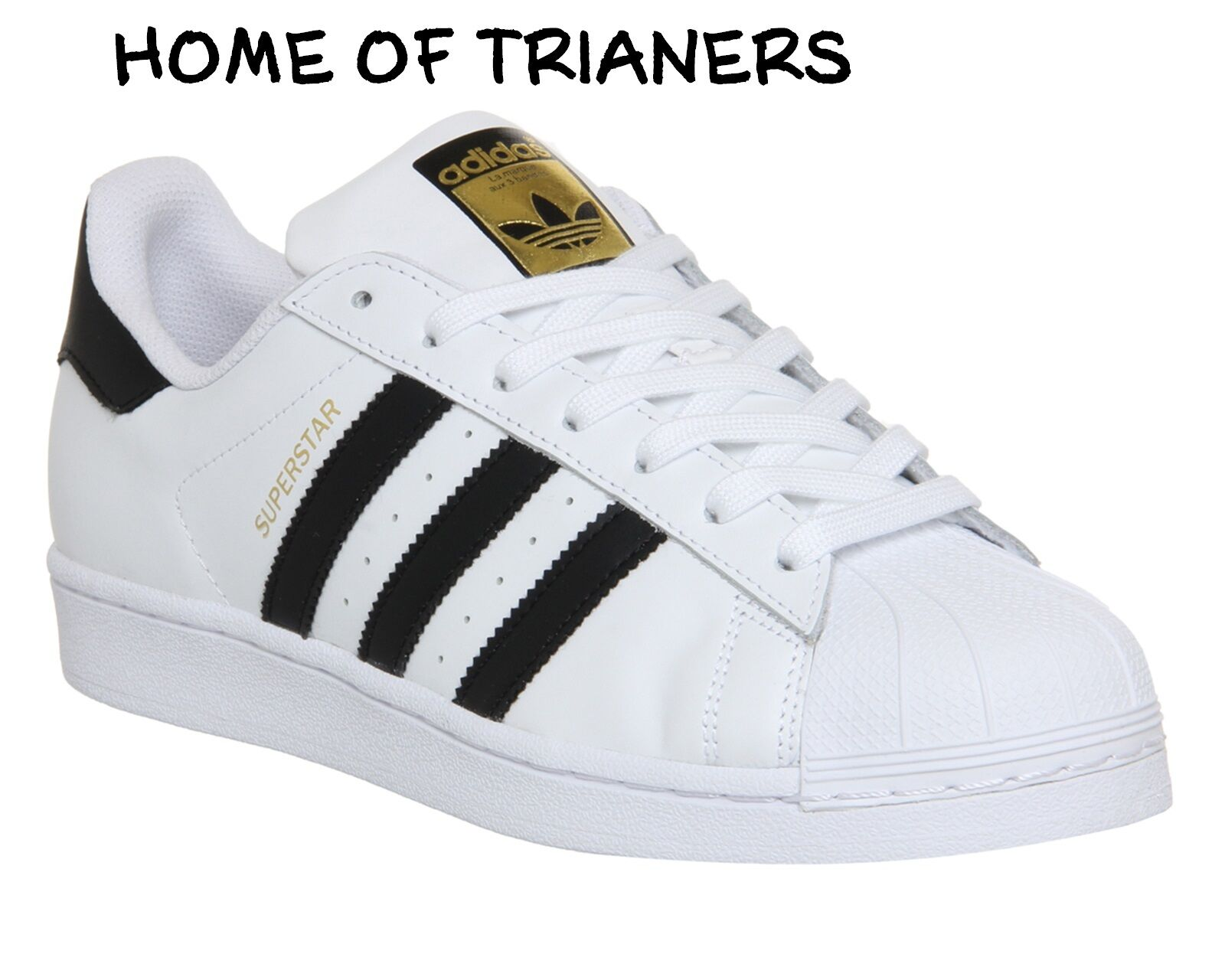 Adidas Super Star (GS) White Black gold Women Boys Girls Trainers All Sizes