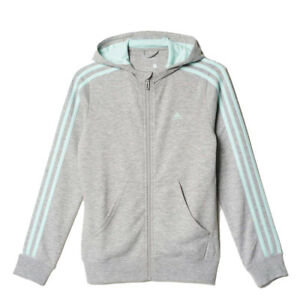 Details about adidas girls greymint ess 3 stripe zip up hoodie. Sweat top. Track top. 4 14Y