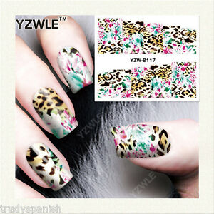 Image Is Loading Nail Art Water Decals Wraps Neon Pink Blue