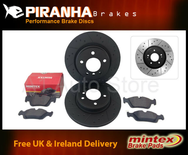 BMW 3 Cabrio E36 323i 96-00 Front Brake Discs Black Dimpled Grooved Mintex Pads