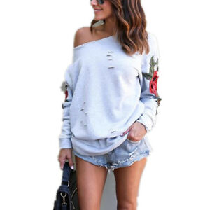 de0eb6fa87d29 Image is loading Rose-Embroidered-Sweatshirt-Women-Off-Shoulder-Pullover -Long-