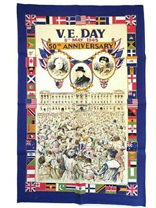 Vintage Linen & Cotton V.E. DAY 8th May 1945 50th Anniversary Tea Towel B3.1