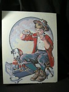 Norman-Rockwell-Finished-Paint-by-Number-Painting-PBN-Vintage-Puppy-Love-Boy-Dog