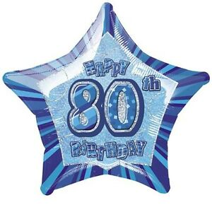 20-034-Blue-Happy-80th-Birthday-Prismatic-Foil-Balloon-Helium-Fete-Decorations