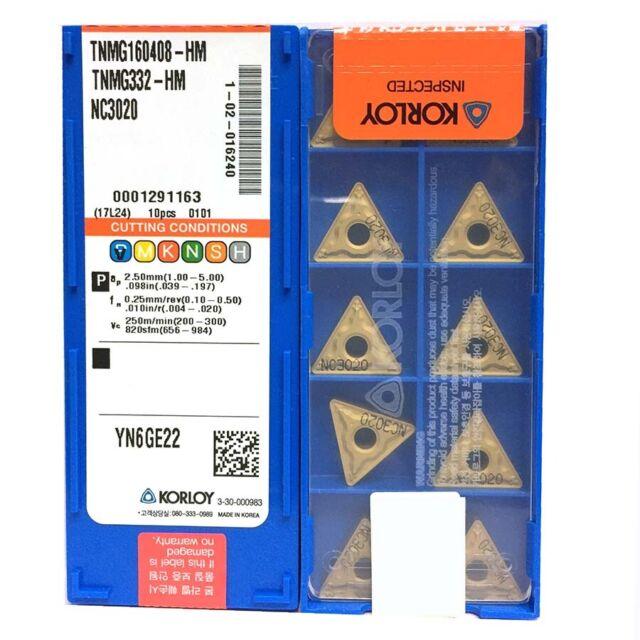 10pcs KORLOY VNMG160404-HM NC3020 Carbide Insert New For Steel process