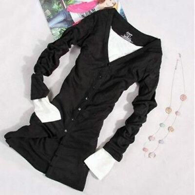 Fashion Women's Long Sleeve Shirt Button Down Knit Cardigan Sweater Slim Coat