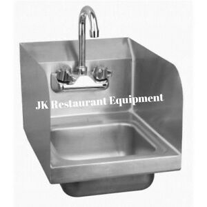 Commercial Sink Faucets Wall Mount : Commercial Heavy Duty Wall Mount Hand Sink w Side Splash 12