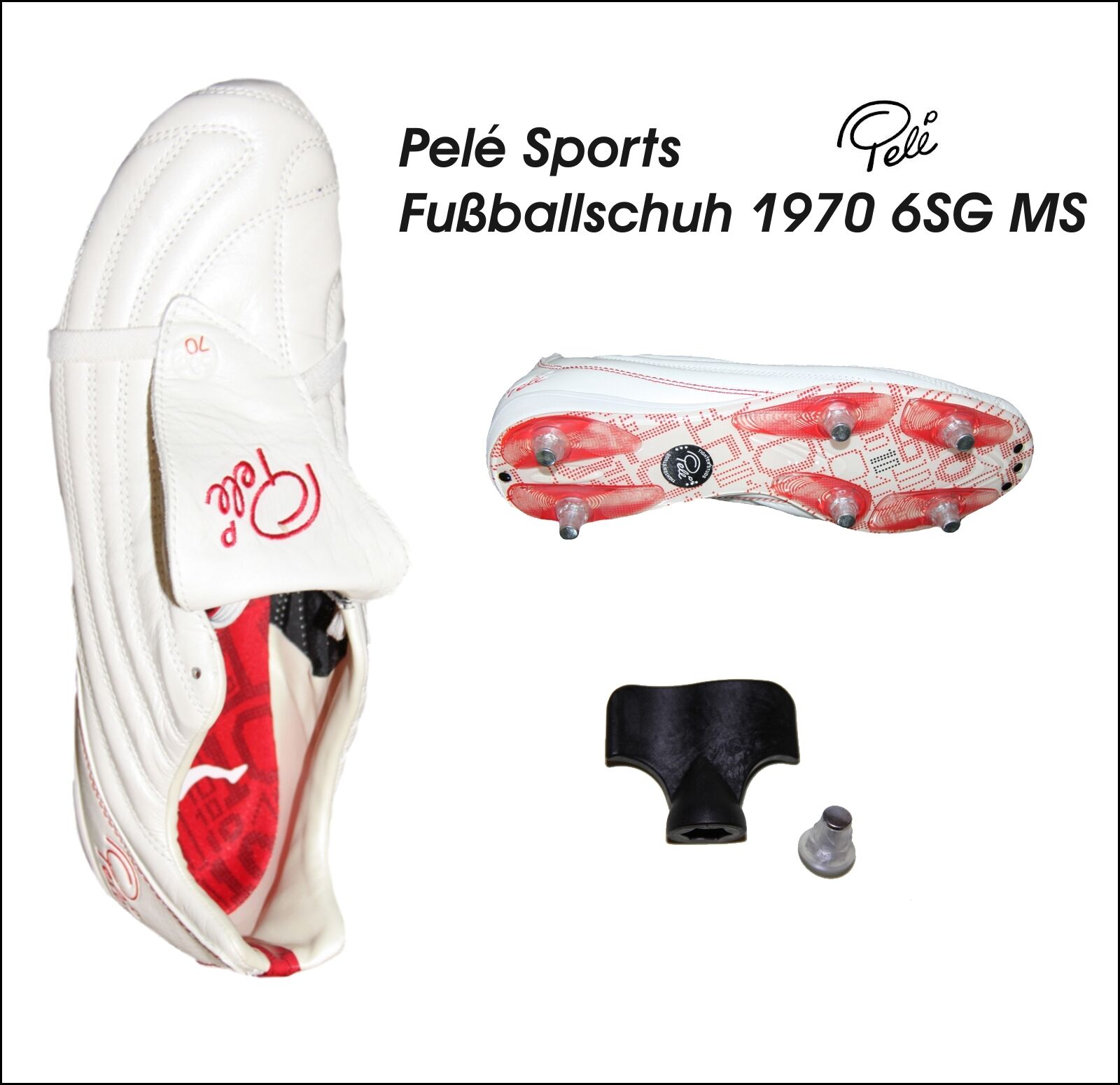Pelé Sports - Men's Football Boot 1970 6SG MS Trainers Kangaroo Leather White