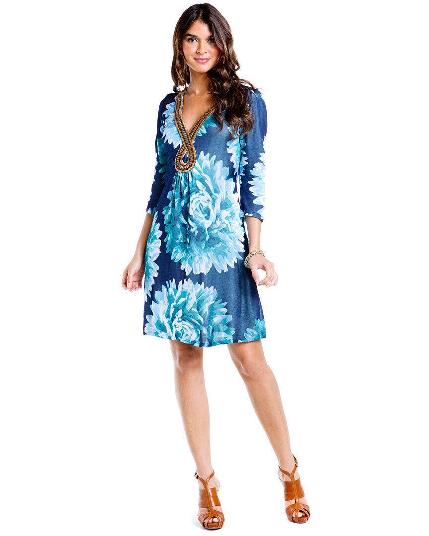 NWT  HALE BOB Printed Blau Floral Beaded V-Neck Dress  XS