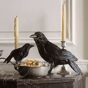 image is loading 2017 halloween decoration black feathered crows bird raven - Halloween Crows