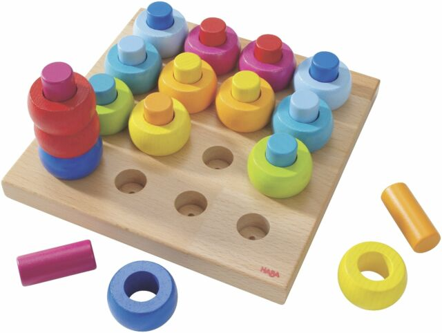 32 Piece Wooden Pegging /& Arranging Game for Ages 2 and HABA Palette of Pegs