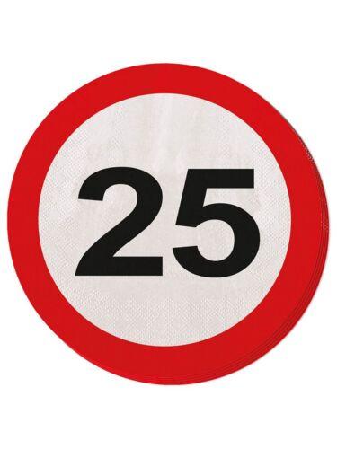 20er-Pack Servietten Geburtstag Dekoration Verkehrsschild Zahl