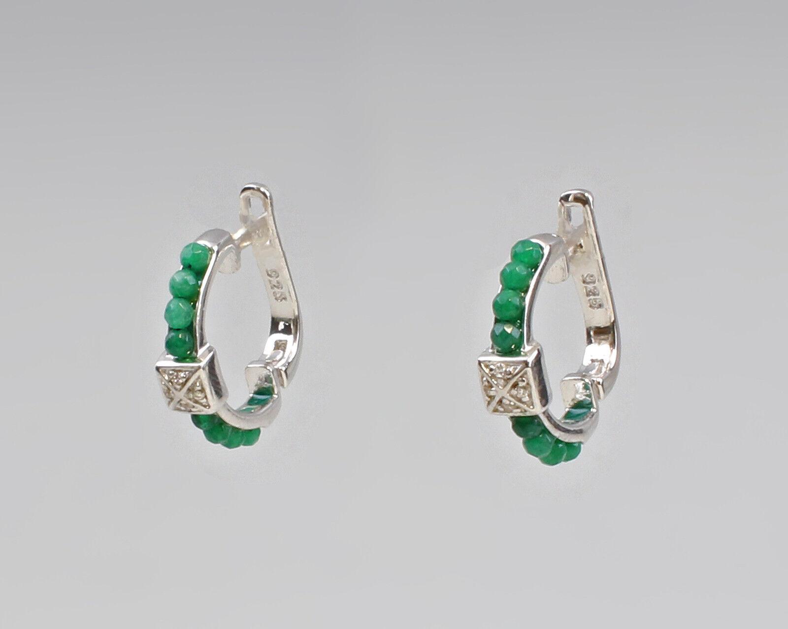 9907337 925 Boucles D'Oreilles en silver Style Créole green-achat D2cm