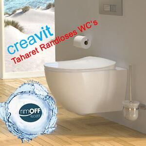 creavit fe321 sp lrandlos h nge dusch wc taharet bidet rim off ohne deckel ebay. Black Bedroom Furniture Sets. Home Design Ideas