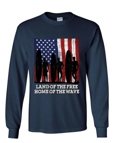 Land of the Free Surfing Long Sleeve T-Shirt Home of the Wave Beach