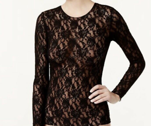 63cc058d5d480e Hanky Panky Women's Signature Lace Unlined Long Sleeve Top, Black MD ...