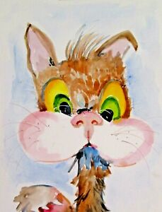 cat bug pet insect animal 12x9 watercolor painting art Delilah