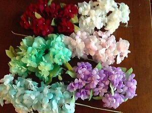 Vintage-Millinery-Flower-Hydrangea-Select-White-Blue-Green-Pink-Wine-or-Lilac-UD