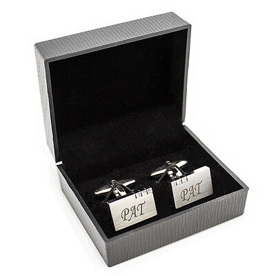 Personalised Rectangle Cufflinks with Crystal Detail - Engraved Free - Christmas
