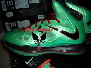 reputable site 46f29 58015 Image is loading nike-lebron-x-10-cutting-jade-green-diamond-