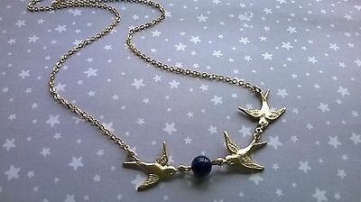 Vintage Style Swallow Bird & Semi Precious Lapis Lazuli Necklace - Boho Brass