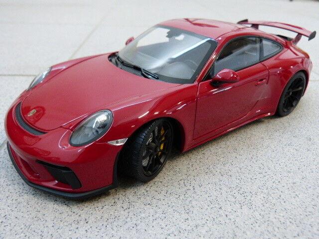 Porsche 911 991 GT3 Rouge Noirs Jantes Limité Minichamps Modèle de Voiture 1 18