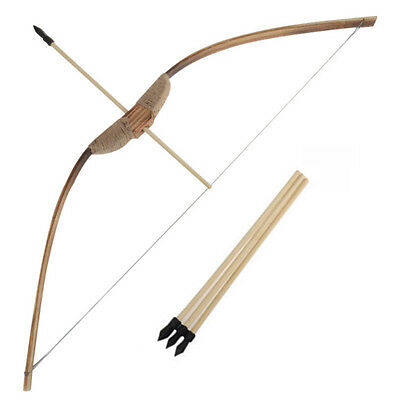 Wooden Bow Set 3 Arrows & Quiver Archery Rubber Tip Longbow Kids Hunting Toy