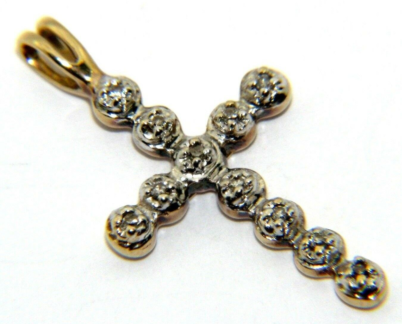 Ladies Womens 9ct 9carat Yellow gold Diamond Cross Pendant UK SELLER