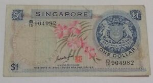 Singapore-1-Dollar-Banknote-F-Orchid-Series-Rare-Signature