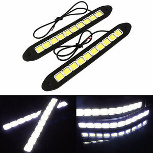 2Pcs-Waterproof-20W-12V-LED-Daytime-Running-Light-DRL-COB-Strip-Lamp-Fog-Car